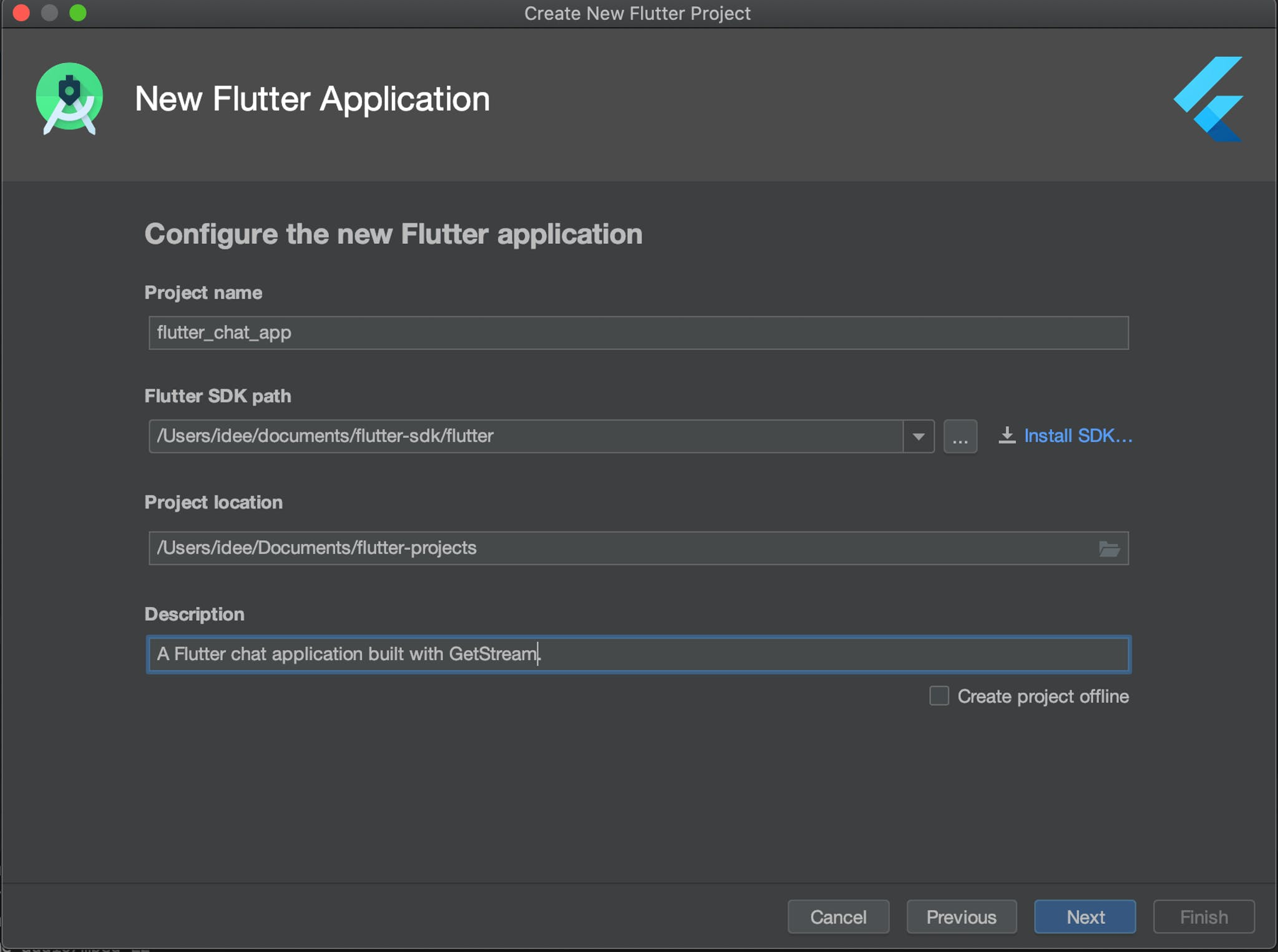 Screenshot of New Flutter Application Configuration Window