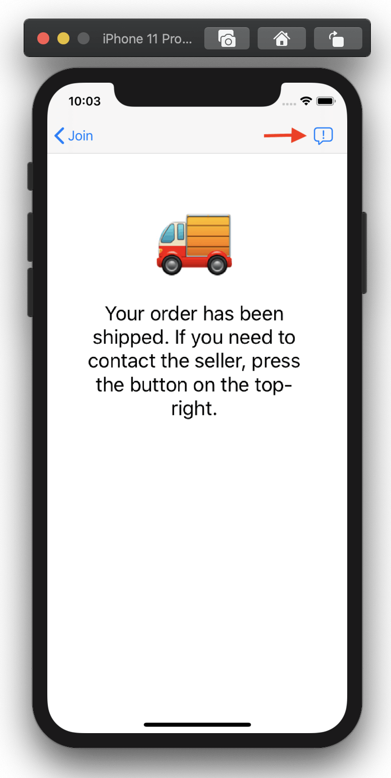 Screenshot shows an app window with a support button that leads to a chat screen with the seller