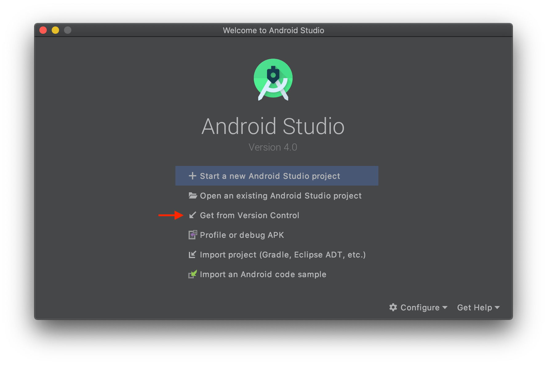 Image shows Android Studio welcome screen with an arrow to the Get from Version Control button