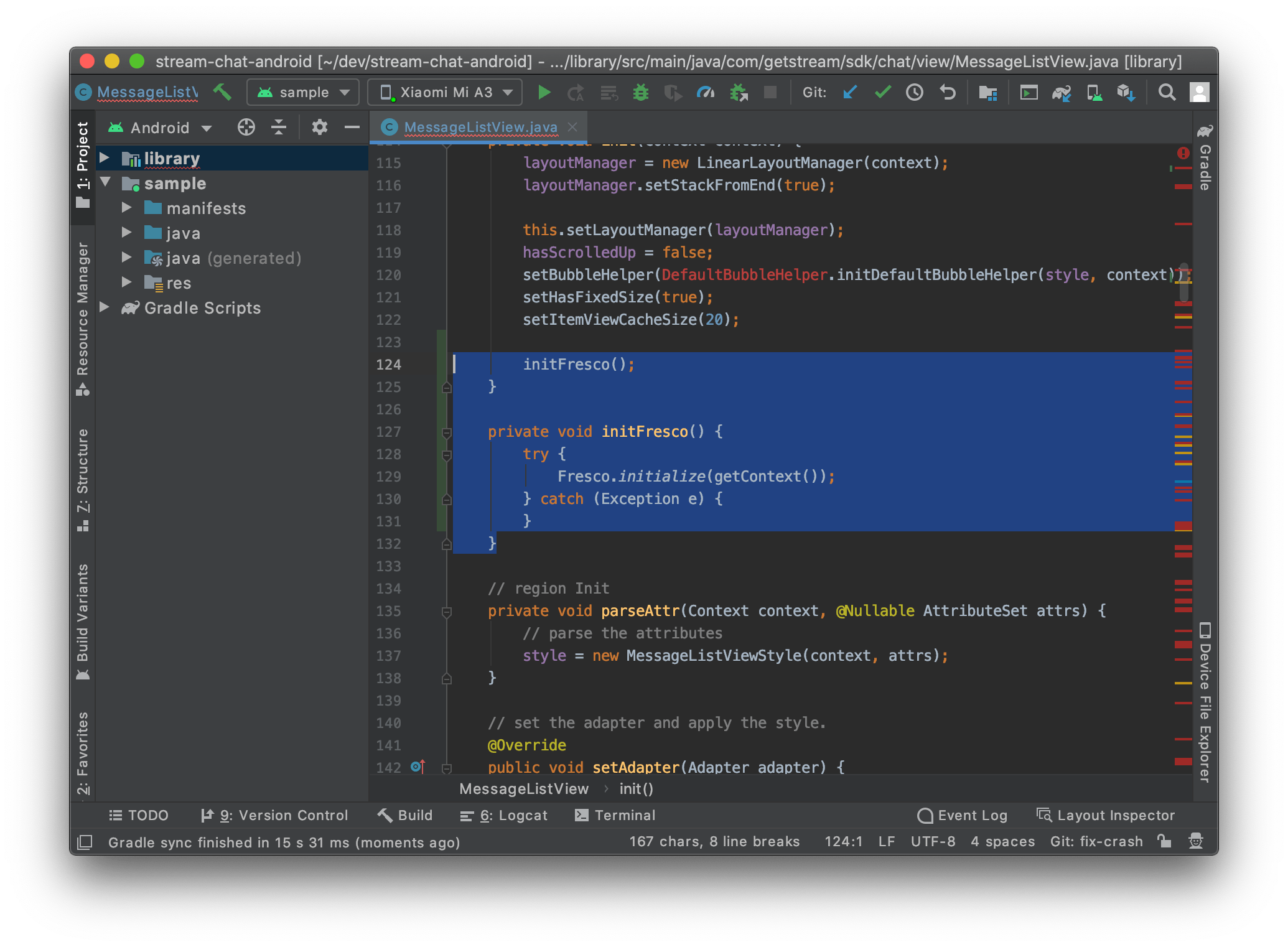 Image shows Android Studio with changes made to the MessageListView file to initialize the Fresco library