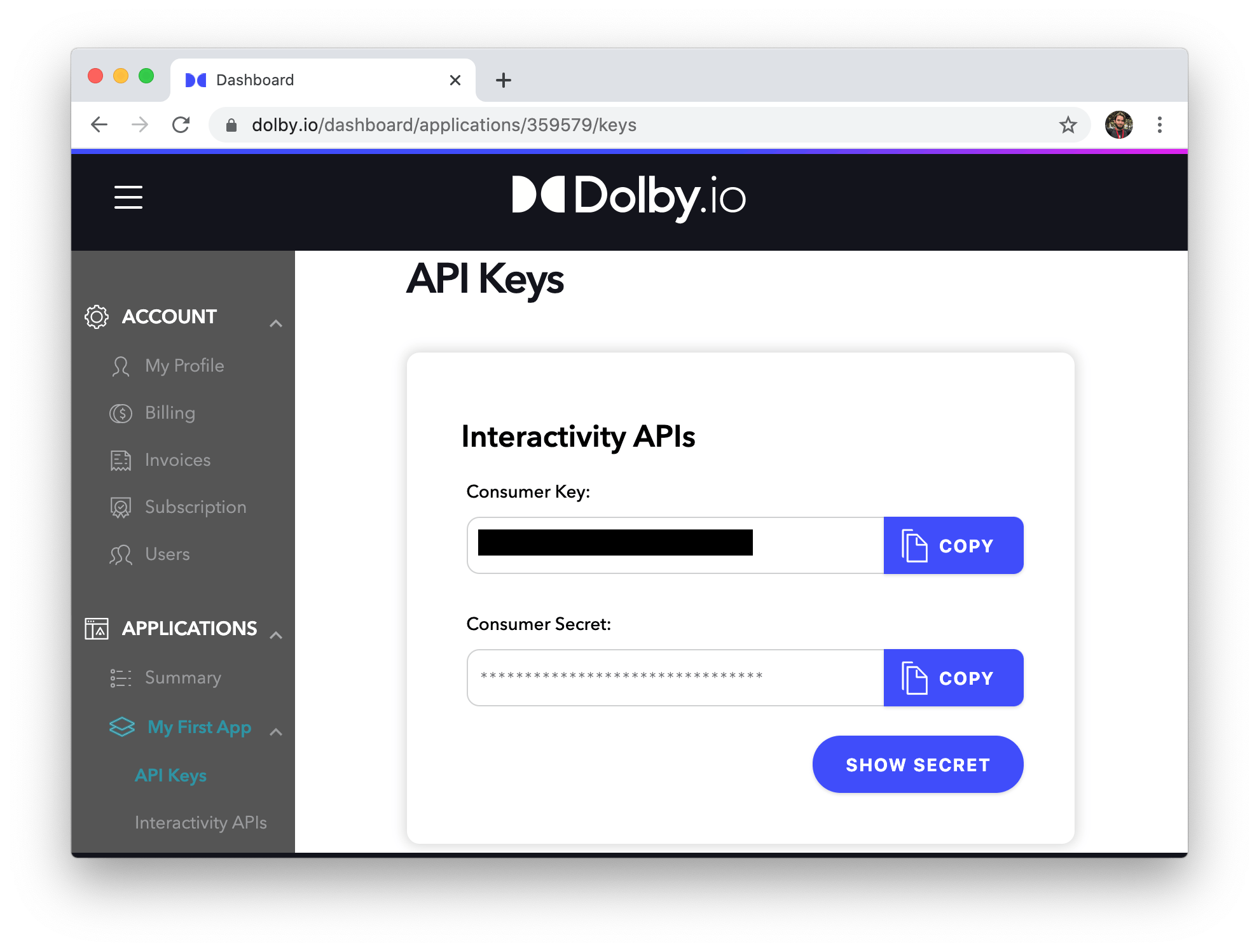 Screenshot of credentials on dolby.io dashboard
