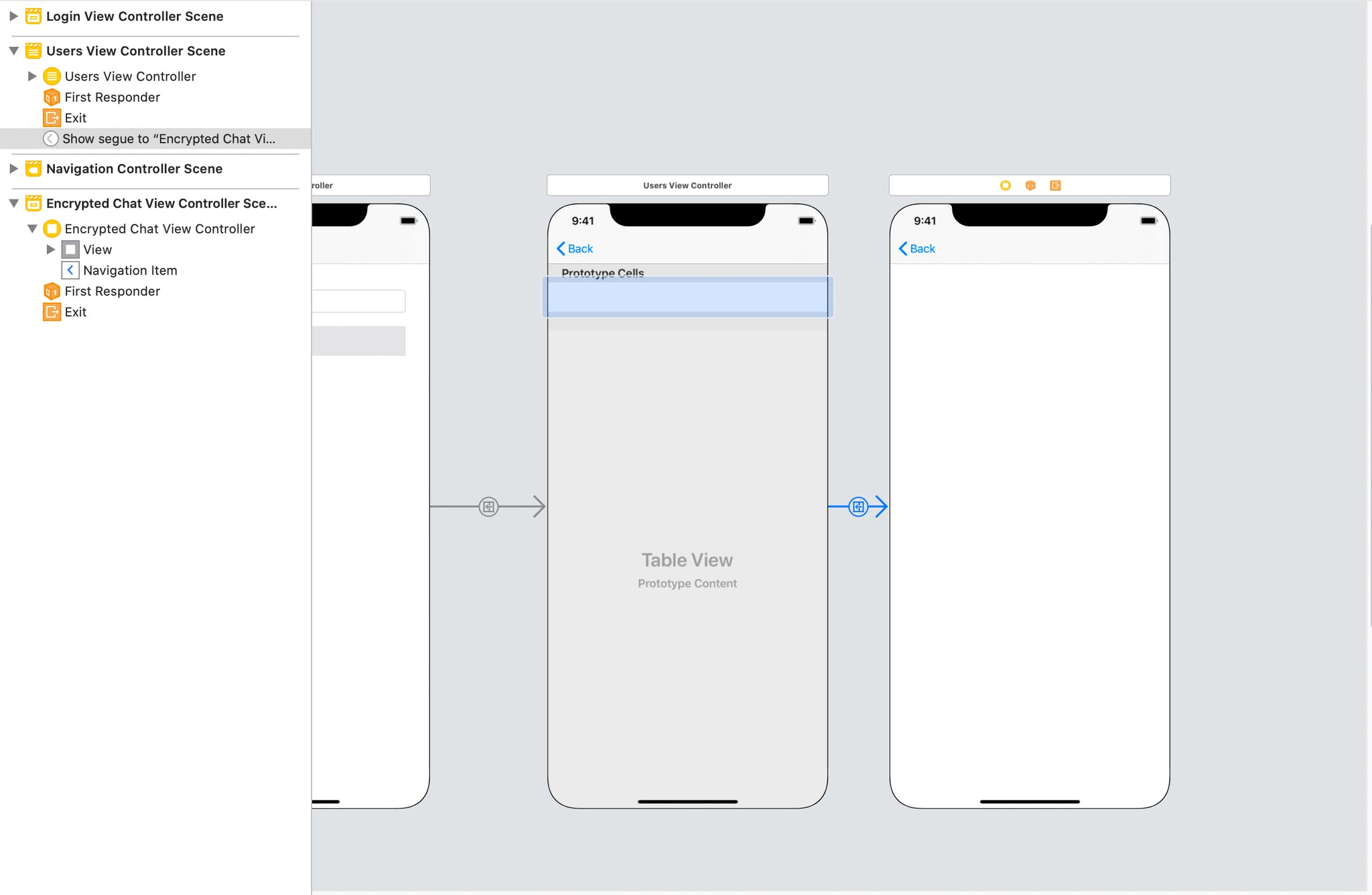 Image shows the same storyboard, now highlighting the segue between the users and encrypted chat controller
