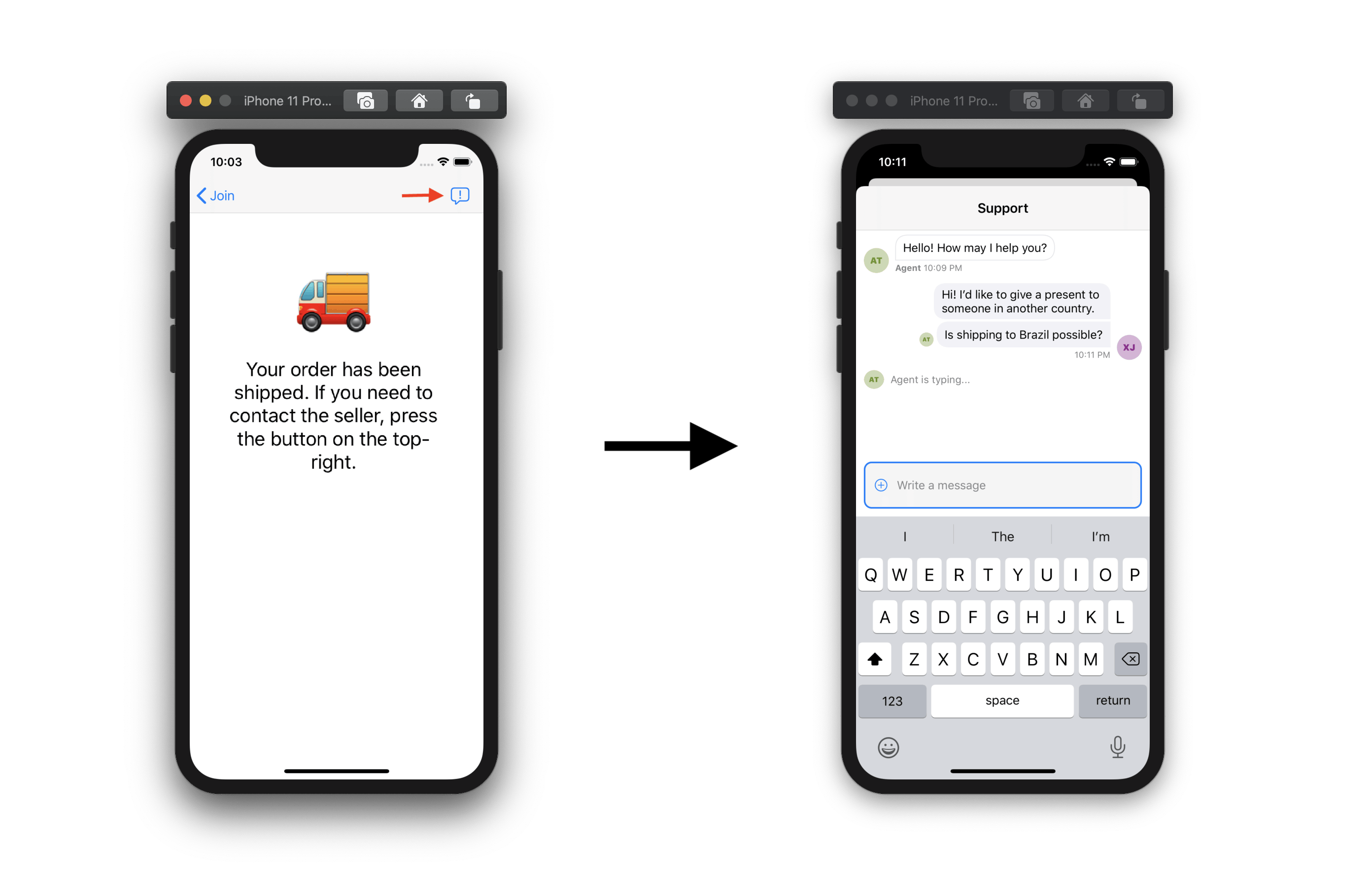 Screenshot shows an e-commerce iOS app screen with a chat button that leads to the chat screen, also pictured