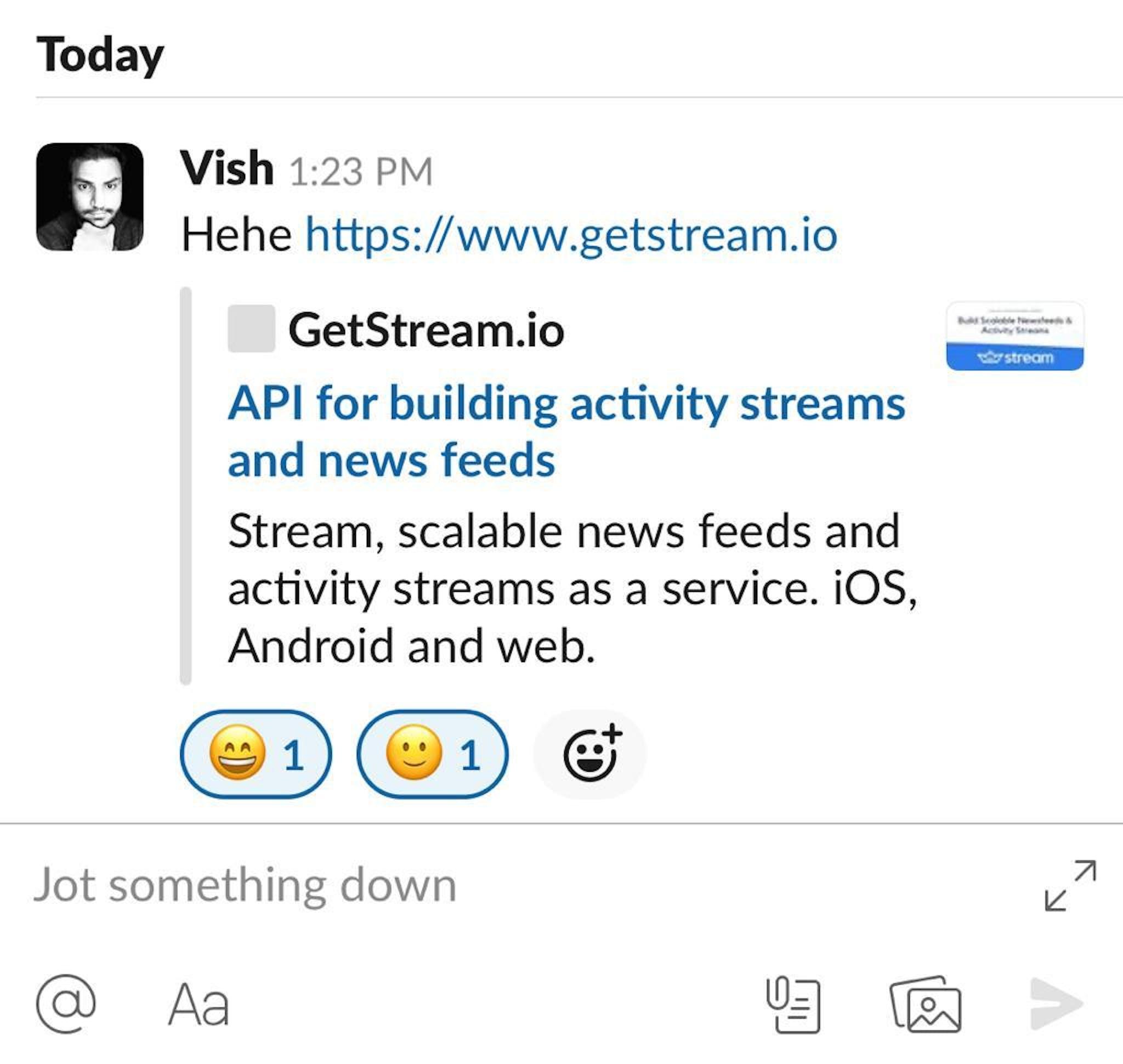 Stream Chat Slack Clone - Message