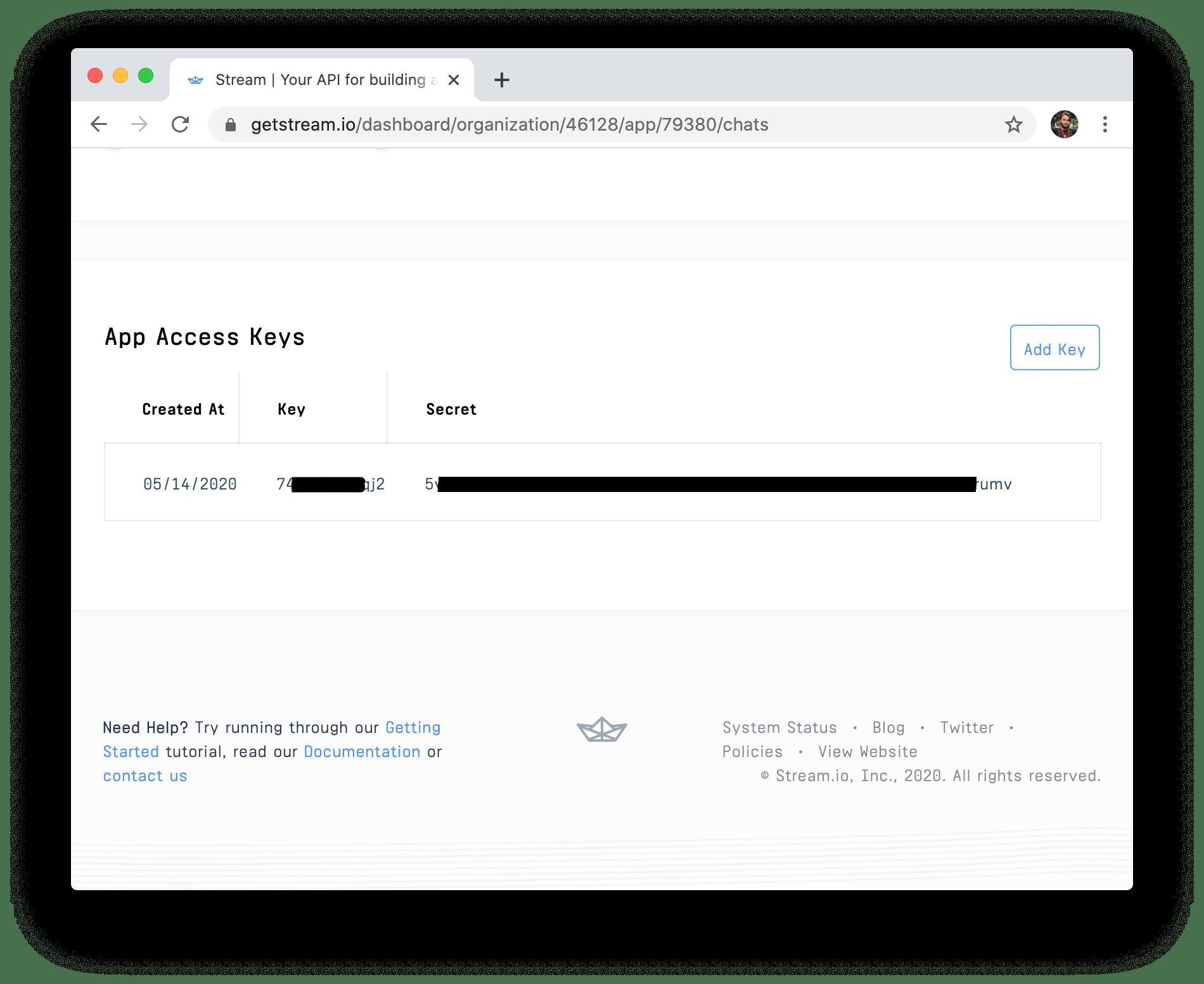 Screenshot of credentials on stream dashboard