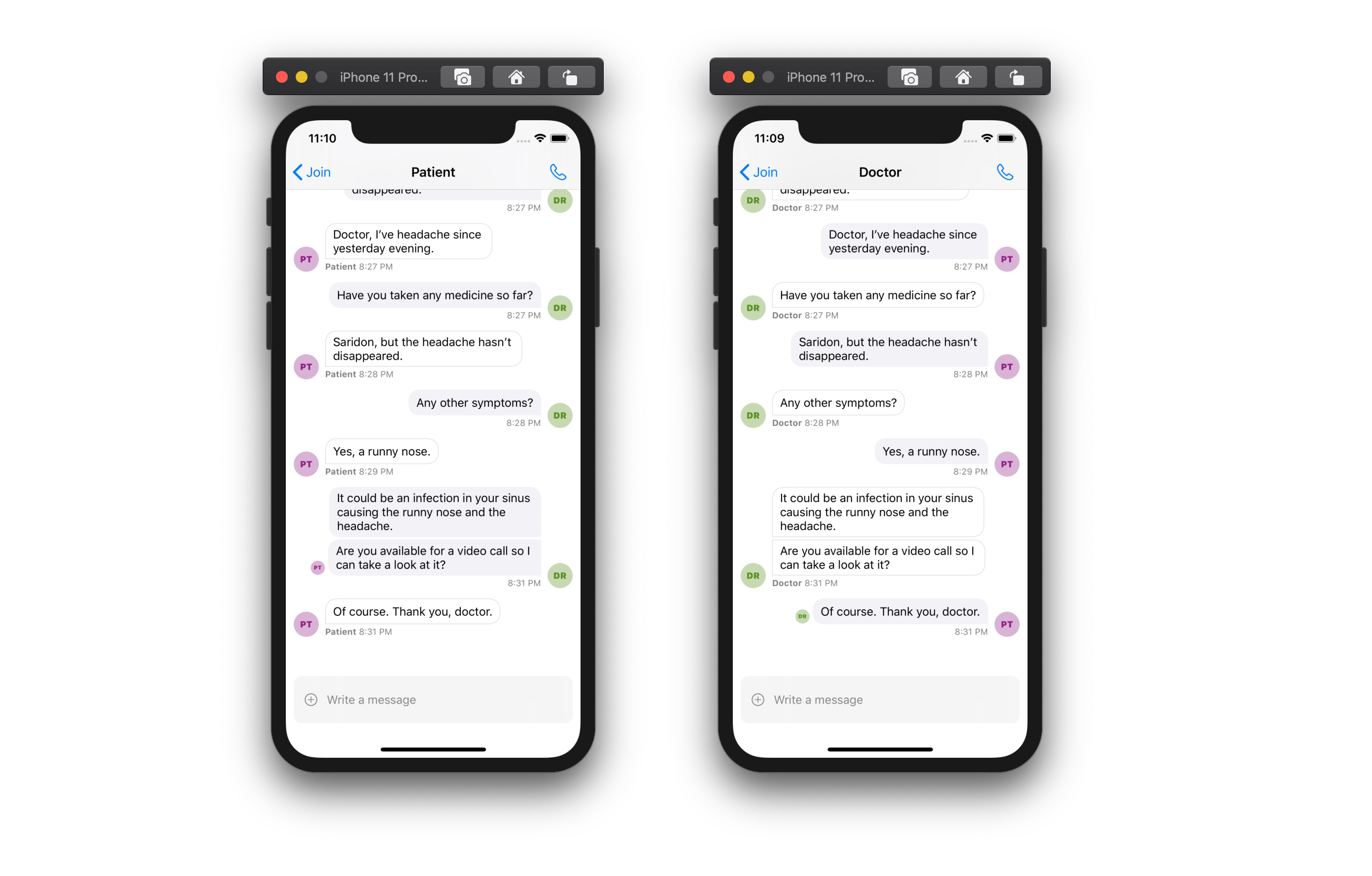 Image shows two screenshots of a conversation in a chat screen, one from the perspective of the patient, and the other from the perspective of the doctor