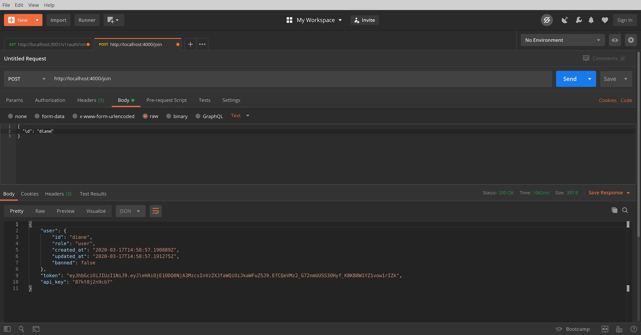 Screenshot of Postman Example
