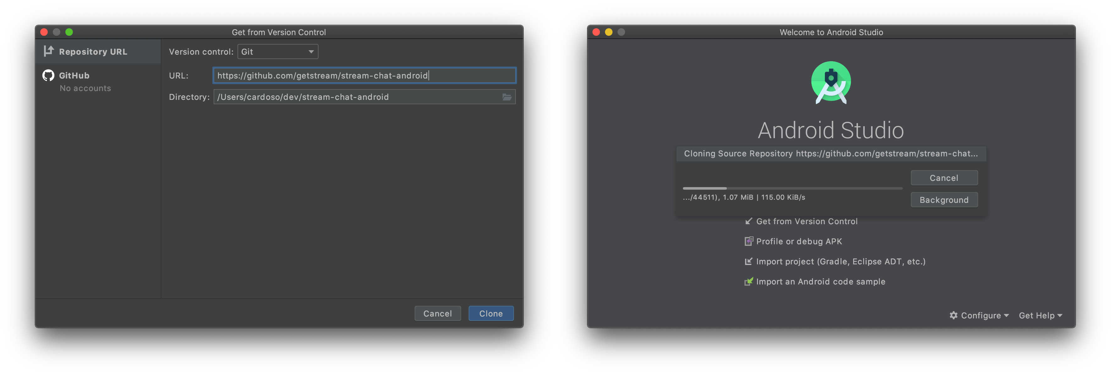Image shows two Android Studio screens. One for typing the git repository URL and the other loading it as a project.