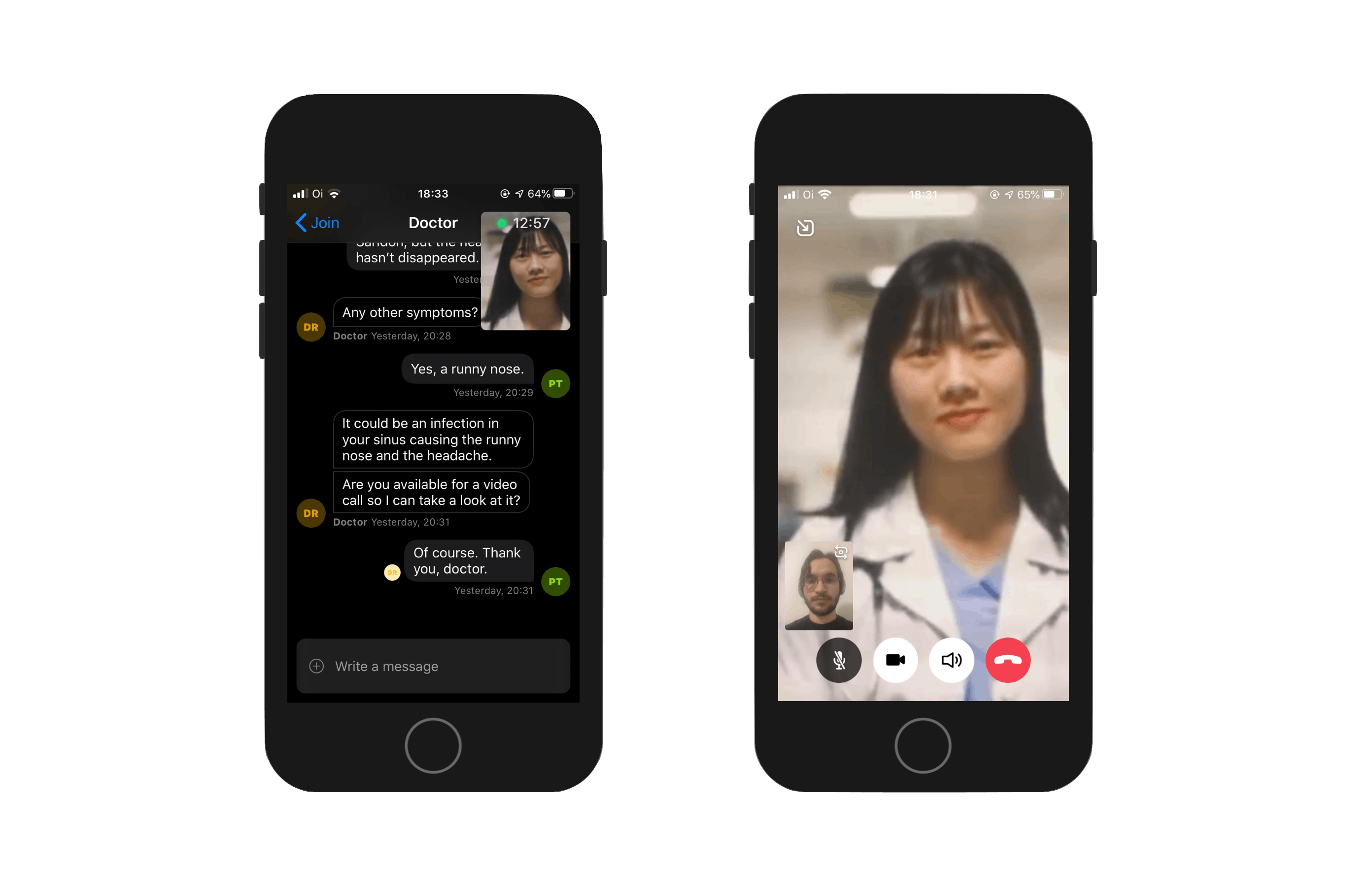 Image shows two screenshots, one from the chat screen with a small video overlay with the doctor, and another with a fullscreen video of the doctor